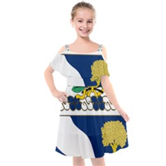 Coat Of Arms Of United States Army 143rd Infantry Regiment Kids  Cut Out Shoulders Chiffon Dress