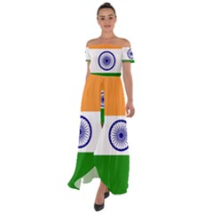 Flag Of India Off Shoulder Open Front Chiffon Dress by abbeyz71