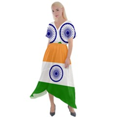 Flag Of India Cross Front Sharkbite Hem Maxi Dress