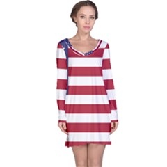 Flag Of The United States Of America  Long Sleeve Nightdress by abbeyz71