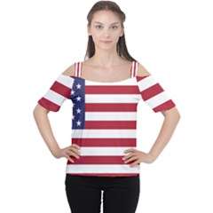 Flag Of The United States Of America  Cutout Shoulder Tee by abbeyz71