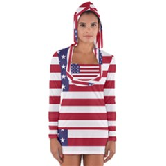 Flag Of The United States Of America  Long Sleeve Hooded T Shirt by abbeyz71