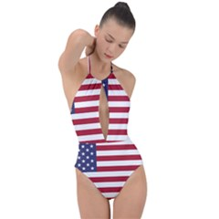 Flag Of The United States Of America  Plunge Cut Halter Swimsuit