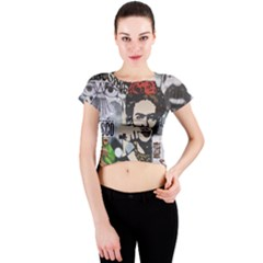 Frida Kahlo Brick Wall Graffiti Urban Art With Grunge Eye And Frog  Crew Neck Crop Top by snek
