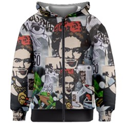 Frida Kahlo Brick Wall Graffiti Urban Art With Grunge Eye And Frog  Kids  Zipper Hoodie Without Drawstring by snek