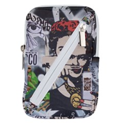Frida Kahlo Brick Wall Graffiti Urban Art With Grunge Eye And Frog  Belt Pouch Bag (small) by snek