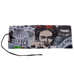 Frida Kahlo Brick Wall Graffiti Urban Art With Grunge Eye And Frog  Roll Up Canvas Pencil Holder (s)