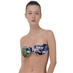 Frida Kahlo Brick Wall Graffiti Urban Art With Grunge Eye And Frog  Classic Bandeau Bikini Top