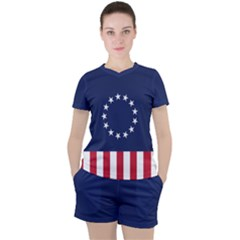 Betsy Ross Flag Usa America United States 1777 Thirteen Colonies Vertical Women s Tee And Shorts Set
