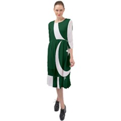 Flag Of Pakistan Ruffle End Midi Chiffon Dress by abbeyz71