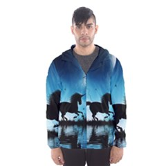 Wonderful Unicorn Silhouette In The Night Men s Hooded Windbreaker