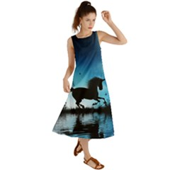 Wonderful Unicorn Silhouette In The Night Summer Maxi Dress