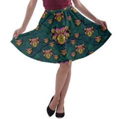 Hearts And Sun Flowers In Decorative Happy Harmony A Line Skater Skirt