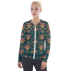 Hearts And Sun Flowers In Decorative Happy Harmony Velour Zip Up Jacket by pepitasart