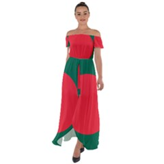 Flag Of Bangladesh Off Shoulder Open Front Chiffon Dress