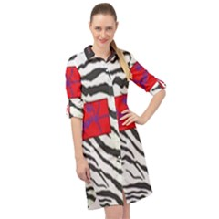 Striped By Traci K Long Sleeve Mini Shirt Dress by tracikcollection