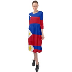 Flag Of The Philippines Ruffle End Midi Chiffon Dress