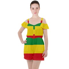 Ethiopia Tricolor Ruffle Cut Out Chiffon Playsuit