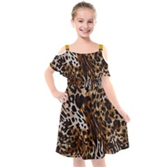 Cheetah By Traci K Kids  Cut Out Shoulders Chiffon Dress