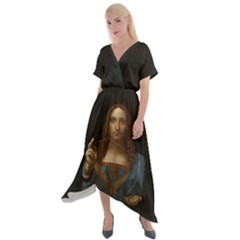 Salvator Mundi Leonardo Davindi 1500 Jesus Christ Savior Of The World Original Paint Most Expensive In The World Cross Front Sharkbite Hem Maxi Dress by snek