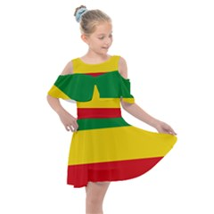 Flag Of Ethiopia Kids  Shoulder Cutout Chiffon Dress
