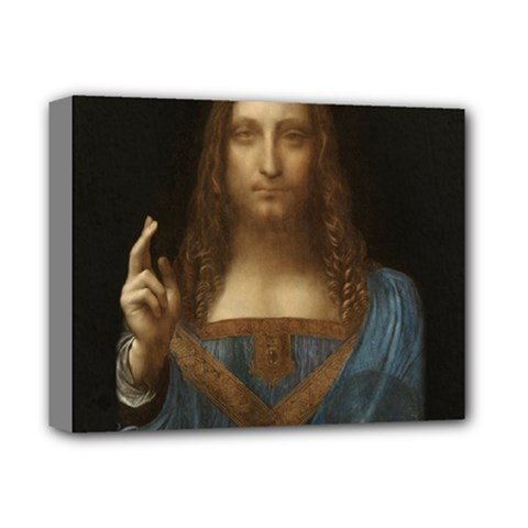 Salvator Mundi Leonardo Davindi 1500 Jesus Christ Savior Of The World Original Paint Most Expensive In The World Deluxe Canvas 14  X 11  (stretched) by snek