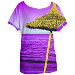 Pop Art Beach Umbrella Women s Oversized Tee by essentialimage