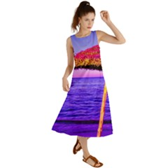 Pop Art Beach Umbrella  Summer Maxi Dress