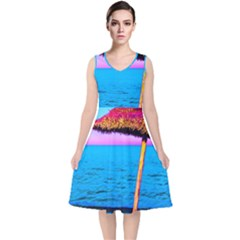 Pop Art Beach Umbrella  V Neck Midi Sleeveless Dress