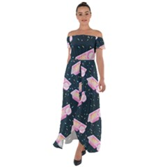 Dunkaroos Funfetti Print Dark Blue 1 Off Shoulder Open Front Chiffon Dress
