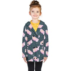 Dunkaroos Funfetti Print Dark Blue 1 Kids  Double Breasted Button Coat