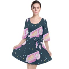 Dunkaroos Funfetti Print Dark Blue 1 Velour Kimono Dress
