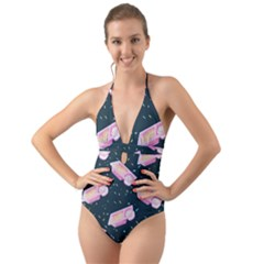 Dunkaroos Funfetti Print Dark Blue 1 Halter Cut-out One Piece Swimsuit