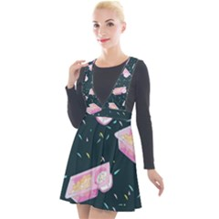 Dunkaroos Funfetti Print Dark Blue 1 Plunge Pinafore Velour Dress