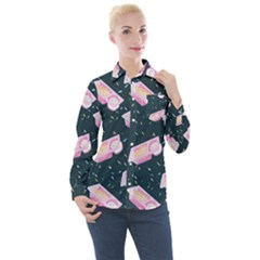 Dunkaroos Funfetti Print Dark Blue 1 Women s Long Sleeve Pocket Shirt