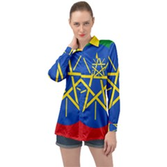 Current Flag Of Ethiopia Long Sleeve Satin Shirt