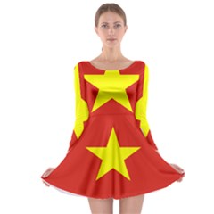 Flag Of Vietnam Long Sleeve Skater Dress