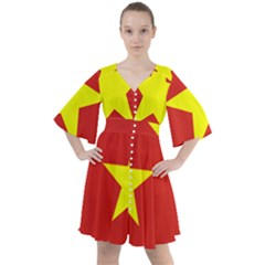 Flag Of Vietnam Boho Button Up Dress