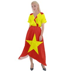Flag Of Vietnam Cross Front Sharkbite Hem Maxi Dress