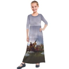 George Washington Crossing Of The Delaware River Continental Army 1776 American Revolutionary War Original Painting Kids  Quarter Sleeve Maxi Dress