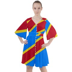 Flag Of The Democratic Republic Of The Congo Boho Button Up Dress