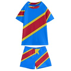 Flag Of The Democratic Republic Of The Congo Kids  Swim Tee And Shorts Set