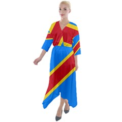 Flag Of The Democratic Republic Of The Congo Quarter Sleeve Wrap Front Maxi Dress