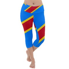 Flag Of The Democratic Republic Of The Congo, 2003-2006 Lightweight Velour Capri Yoga Leggings by abbeyz71