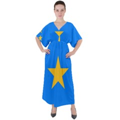 Flag Of The Democratic Republic Of The Congo, 2003-2006 V-neck Boho Style Maxi Dress