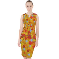 Yellow Spray Design Midi Bodycon Dress