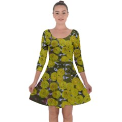 Yellow Flowers Design Quarter Sleeve Skater Dress by BePrettily