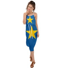 Flag Of The Democratic Republic Of The Congo, 1997-2003 Waist Tie Cover Up Chiffon Dress