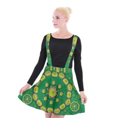 Fauna Bloom Mandalas On Bohemian Green Leaves Suspender Skater Skirt