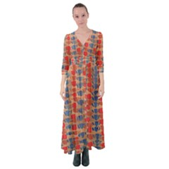 Red Blue And Brown Design Button Up Maxi Dress by BePrettily